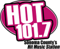 hot 101.7. sonoma county's hot music station. logo.