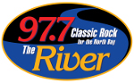 97.7 the river. classic rock for the north bay. logo.