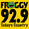 froggy 92.9 today's country. logo. frog graphic.