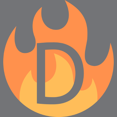hot deal logo. graphic of flame with D in middle